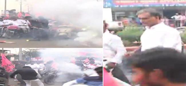 Telangana Minister Harish Rao Escapes Firecracker Mishap (1)