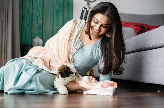 Keerthy Suresh Pet Hugging Stills