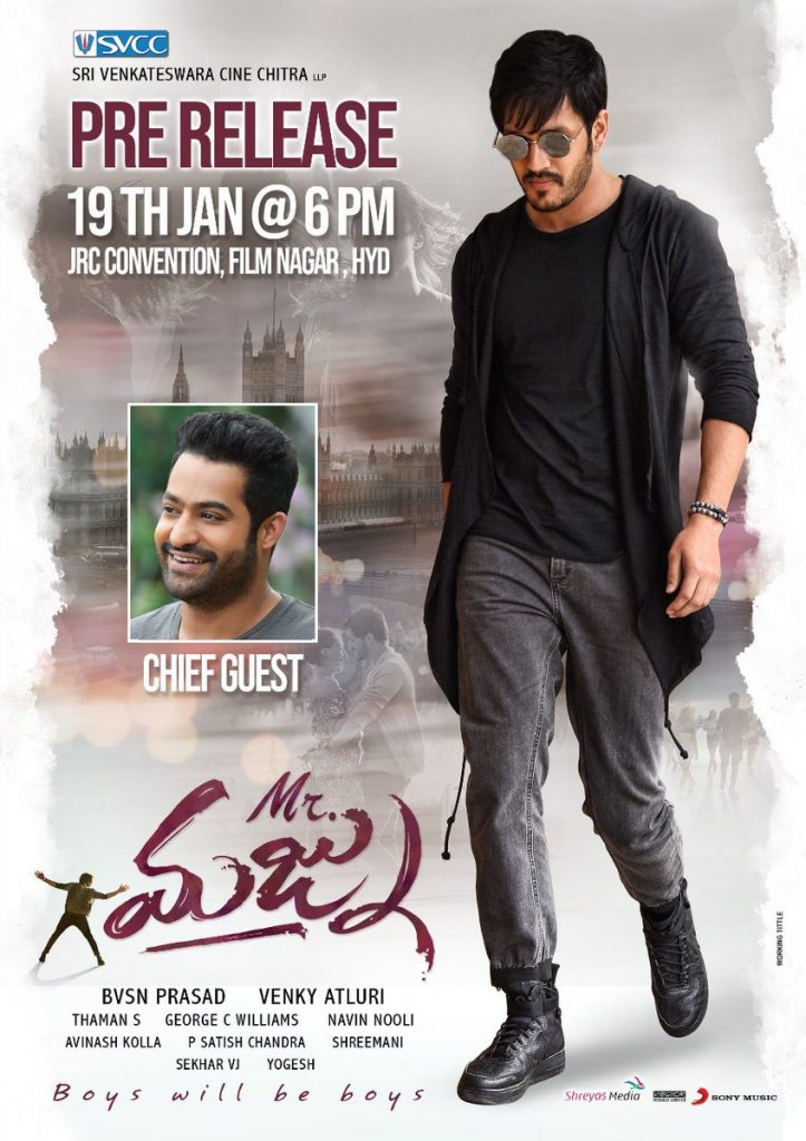 akhil mr majnu pre release event ntr as chief guest