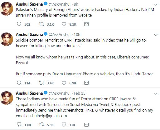 anshul saxena hacks pakistan foreign affairs website