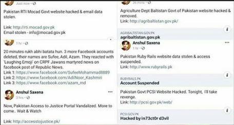 anshul saxena hacks pakistan government websites